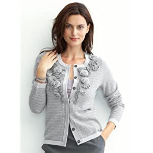 Banana Republic Petite textured rosette cardigan