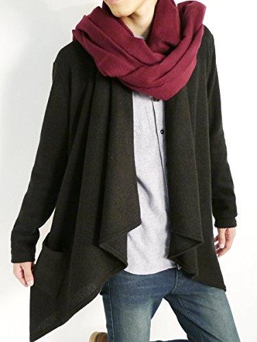 (モノマート) MONO-MART ワイド 変形 起毛 ロング カーディガン ゆる 暖かい デザイナーズ コート 着回し モード メンズ ブラック ワンサイズ
