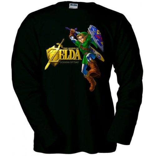camiseta-zelda-ocarina-of-time-gold-negra-manga-larga-talla-9-10-anos