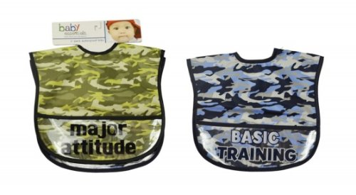 Baby Essentials 2 Pack Major Attitude Easy Wipe Bibs