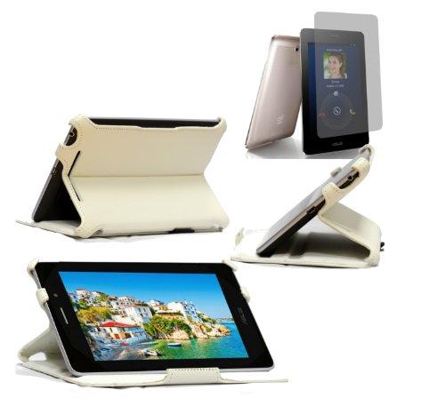 Navitech weißes Case mit Ständer und Halteschlaufe für das Asus FonePad mit Asus Bildschirm Schutz