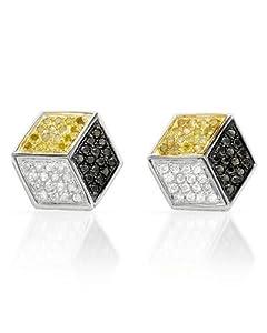 Genuine Morne Rouge (TM) Earrings. 0.75 Ctw Diamonds Sterling Silver Earrings. 2.7 Grams in Weight and 12 mm in Length. 100% Satisfaction Guaranteed.