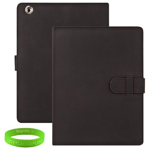 Black Padded iPad Skin Cover Case Stand with Special Unique Hand Strap and Leather Strap Closure for all Models of The New Apple iPad ( 3rd Generation, wifi , + AT&#038;T 4G , 16 GB , 32GB , 64 GB, MC707LL/A , MD328LL/A , MC705LL/A , MC706LL/A, MD329LL/A , MD368LL/A , MC756LL/A , MC744LL/A ect.. ) + Live * Laugh * Love Vangoddy Trademarked Wrist Band!!!