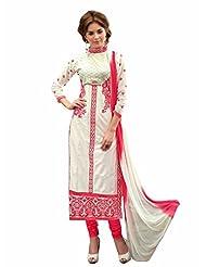 Trendz Apparels White Glass Cotton Straight Fit Salwar Suit