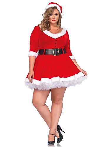 Leg Avenue Women's Plus-Size Miss Santa, Red, 1X/2X
