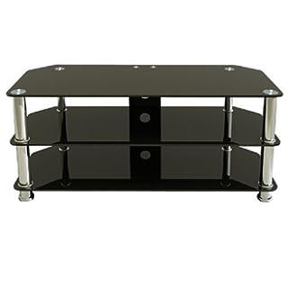 Premier AV HF0050 Plasma and LCD TV Silver Leg Stand Upto 50 inch or 50kgs - Black Glass, Silver legs