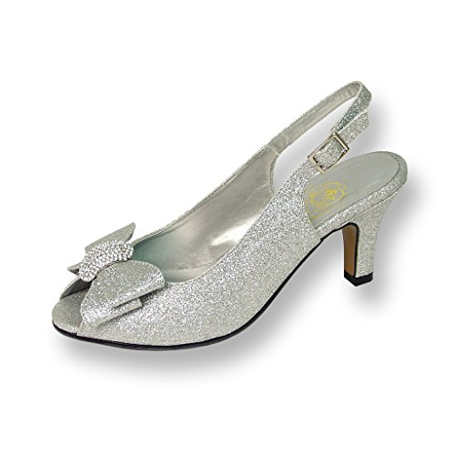 Floral Women's Emely Metallic Synthetic Silver Sling Back 7