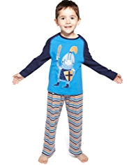 Cotton Rich Raglan Sleeve Knight & Striped Pyjamas