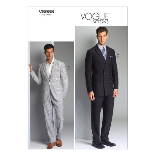 Vogue Patterns V8988MUU Men's Jacket and Pants Sewing Template, Size MUU (34-36-38-40) (Sewing Fabric For Men compare prices)