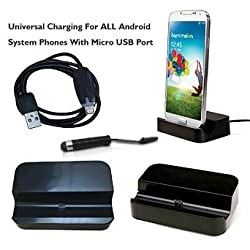 AmaziPro8 Universal Charger Docking Station for Android Smartphone Bundle with Mini Stylus Pen, Anti-Dust Plug & Cable - Black