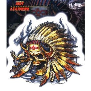 Hot Leathers - Native Skull - Sticker / Decal