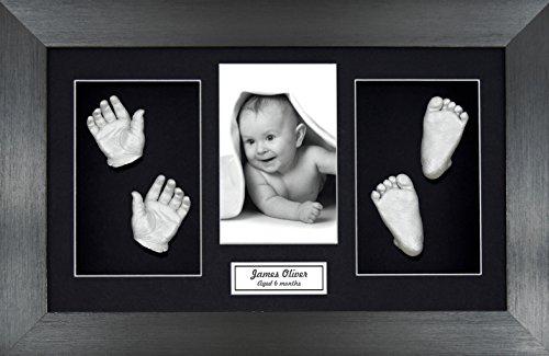 babyrice-large-baby-casting-kit-great-for-twins-145x85-brushed-pewter-frame-black-mount-silver-metal
