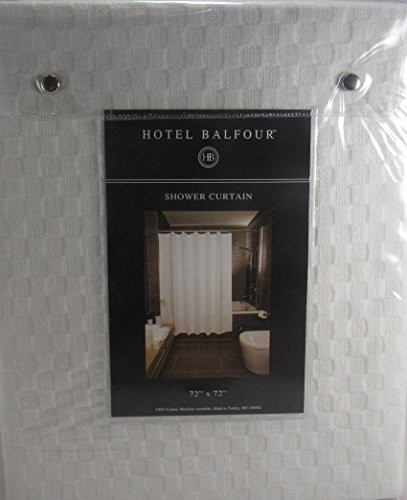 Hotel Balfour Premium Quality Fabric Shower Curtain White Waffle Weave 100 Cotton 72 X