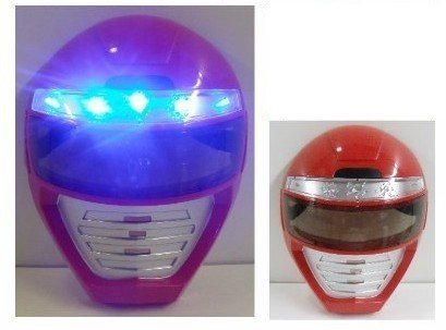 LIGHT UP POWER RANGERS MASK - Unique Kids Dress Up Role Play Cosplay Costume Pretend Play Power Rangers Red Power Ranger Universal Size Light Up LED Mask - 1