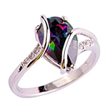buy Yazilind Stunning Wedding Rainbow Waterdrop Crystal Round Silver Plated Anniversary Ring For Women Size8