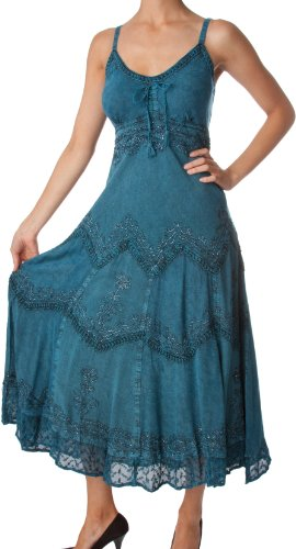 AA4012 - Stonewashed Rayon Embroidered Adjustable Spaghetti Straps Long Dress ( Various Colors & Siz..