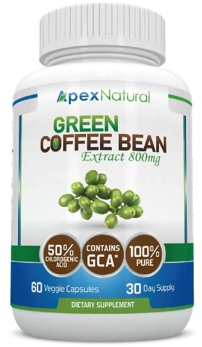 Pure Green Coffee Bean Extract 800mg with GCA® (50% Chlorogenic Acid) - EXTRA Strength - Natural Green Coffee Bean Extract - 60 Veggie Capsules