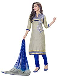 PShopee Grey & Blue Cotton Embroidery Unstitched Multistylist Dress Material