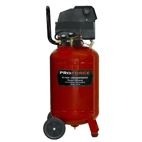 Pro-Force VLF1582019 20-Gallon Oil Free Vertical Air Compressor with Kit