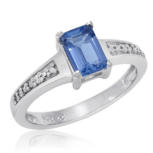 1/2ct Emerald Cut Tanzanite and Diamond Ring in Sterling Silver ( Available Size 5-8) sz7