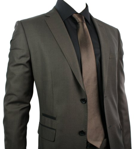 Mens Slim Fit Suit Brown 2 Button Black Trim Office Party or Wedding Suit Stitch Design