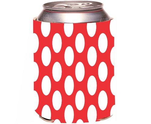 "Rikki Knight ""Red Polka Dots Design"" Beer Can Soda Drinks Cooler Koozie front-613913"