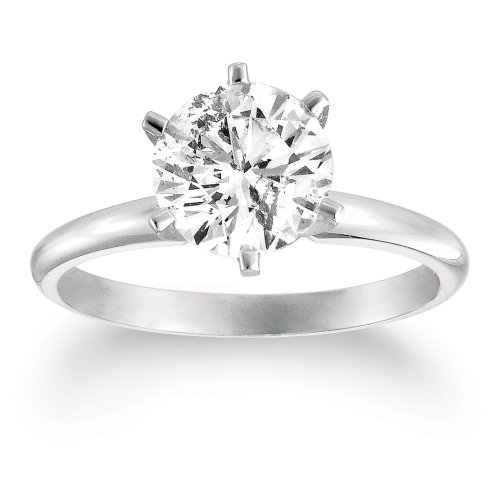 Certified 14k White Gold Round Solitaire Diamond Engagement Ring (1 1/2 ct, H-I Color, SI2-I1 Clarity), Size 7