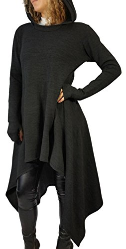 IF FEEL Loong Sleeves Casual Irregular Cowl Neckm BlouseTop For Women ((US 8-10)M, Black)
