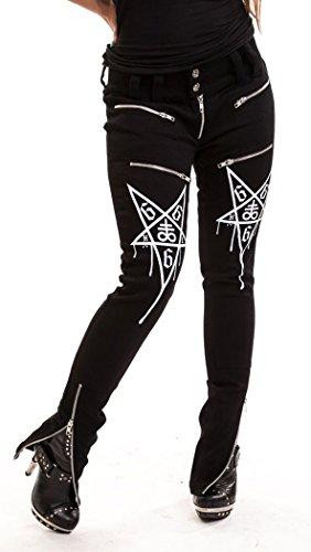 Pantaloni nasconde 666 pentagramme gotico Heartless Nero nero Large