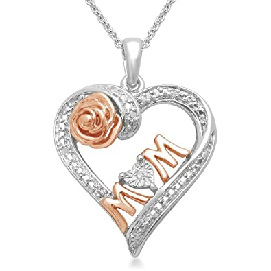 18K Rose Gold Plated Sterling Silver Diamond Heart MOM Pendant Necklace (0.01 cttw, I-J Color, I3 Clarity), 18″ $39.00