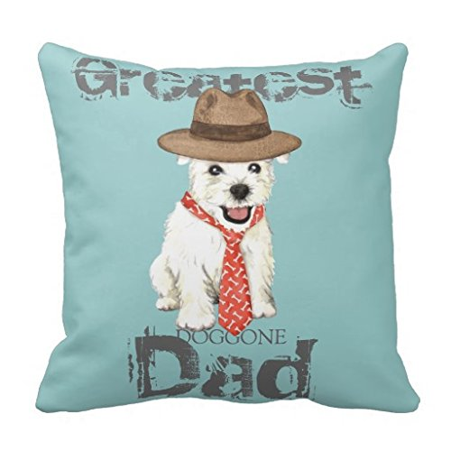 Westie Dad Throw Pillow Case