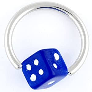 """One Stainless Steel Captive Bead Ring: 14g 3/8"""", Acrylic Dice: 5mm Blue (SOLD INDIVIDUALLY. ORDER TWO FOR A PAIR.)"""