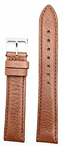 18mm Tan Oily Vegetable Leather, Lightly Padded Watchband