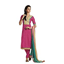 Pink Cotton Embroidered Partywear Dress Material