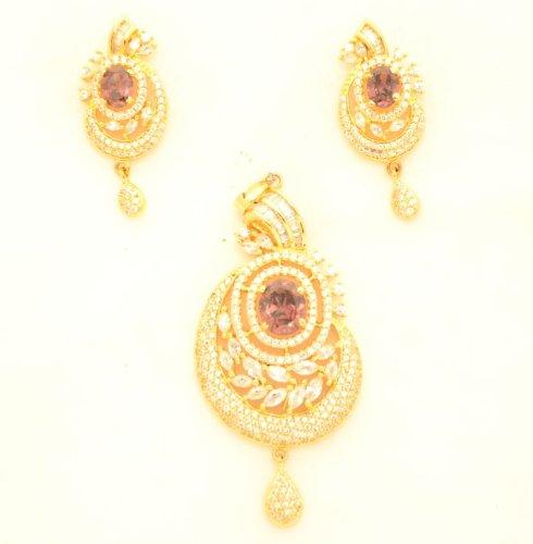 Fashion Balika Fashion Jewelry Gold-Plated Pendant Set For Women Gold-BFJER132 (Yellow)