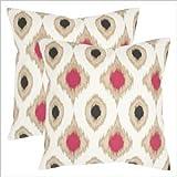 Safavieh Pillows Collection Miranda Decorative Pillow, 18-Inch, Taupe, Set of 2