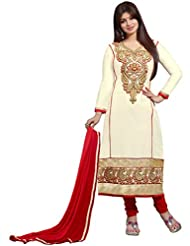 Manvaa Beautifull Light Brown Glaze Cotton Salwar Kameez With Red Chiffon Dupatta