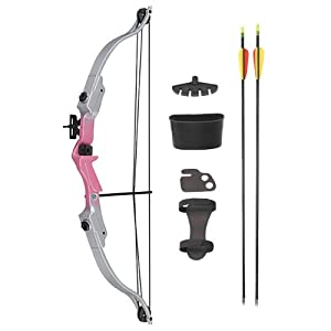 4 Pack 20LB Youth 22 Compound Bow Archery Target Practice Set - Pink Silver by MegaDeal
