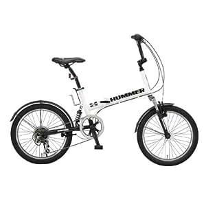 HUMMER(ハマー) 20インチシマノ6段変速折りたたみ自転車 [Wサスペンション/前後フェンダー/Vブレーキ/ボトルゲージ/リフレクター標準装備] ホワイト HUMMER FDB206 W-sus