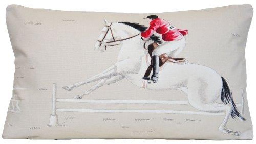 Sofa Cushion Pillow Cover Pictorial Novelty Decor Jockey Horse Ascot Riding Red