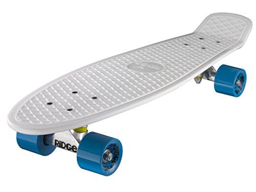 """Ridge 27"""" Retro Style Complètes Cruiser Skateboard Planche A Roulettes Plastiques 19 x 68cmcm Avec Abec-7 59mm Roulements - Blanc Et Bleu"""