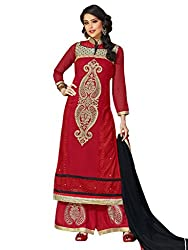 Inddus Women Red Georgette Salwar Kameez