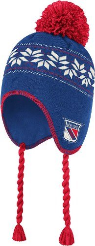 NHL CCM New York Rangers Vintage Pattern Tassel Knit Hat - Royal Blue/Red at Amazon.com