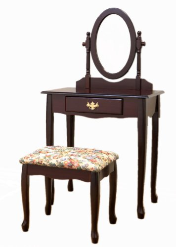 New Frenchi Home Furnishing  Two Piece Vanity Set with Queen Anne Design Rich Cherry Finish