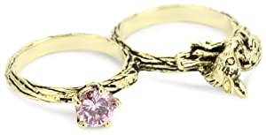 """Beyond Ring """"Enchanted"""" Deer and Jewel Two Finger Ring, Size 8/9"""