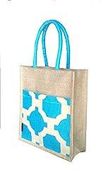Foonty tote women turquoise medium jute lunch bag (FJUWB6301)