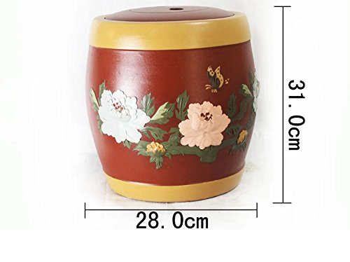 Chinese Yixing Zisha Kungfu Teapot Tea Pot Canister Tea Jar Holder Container Home Decor Piles of Peony Drum Shape Red