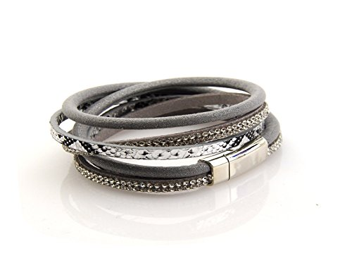 2-wrap-3-strand-leather-bracelet-snake-print-magnetic-clasp-7-wrist-grey