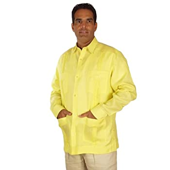 Linen long sleeve guayabera for men in yellow