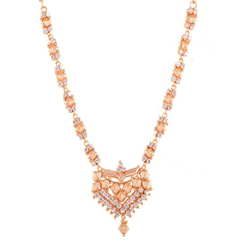 Ganapathy Gems 1Gram Gold Plated South Indian Kerala Design Necklace With White CZ Stones - B00UBKGG3E